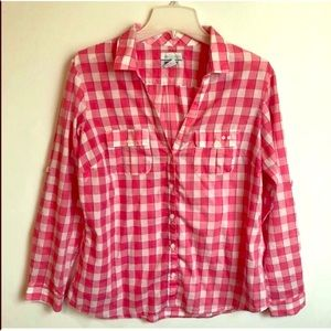 COLUMBIA Outdoor Coral/Pink Plaid BLOUSE TOP Lg